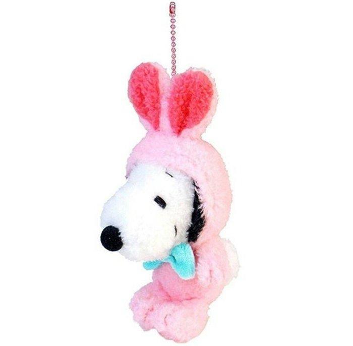 天使熊雜貨小舖~日本帶回snoopy史努比兔兔造型復活節限定 珠扣吊飾 絨毛娃娃  現貨2款  全新現貨