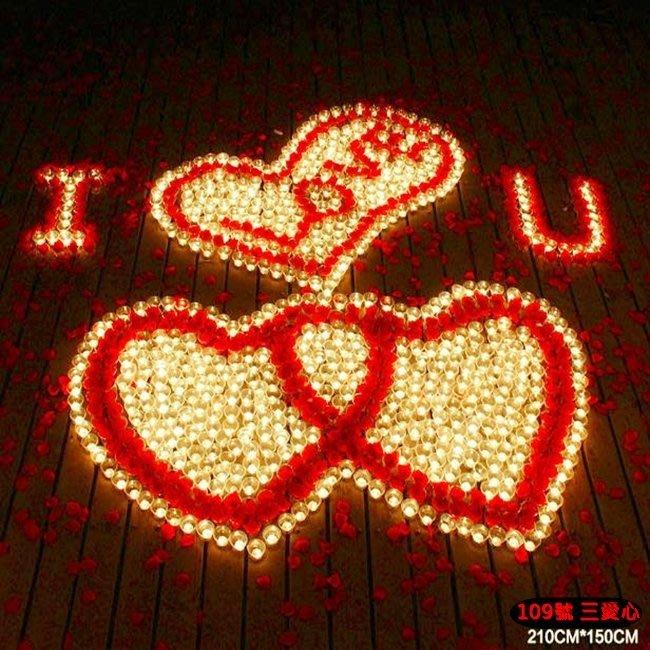 排字 求婚 表白 情人節 三愛心 蠟燭套餐 LOVE 愛心精裝版 表達版 情人節 109號【塔克玩具】