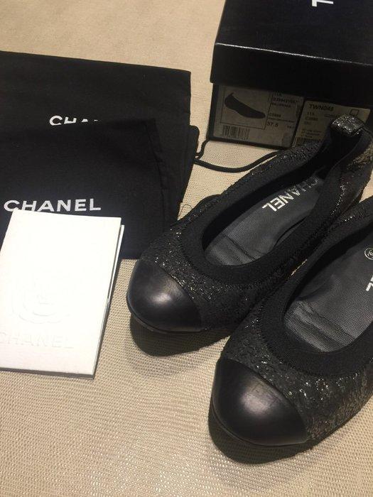 二手 真品 chanel 黑銀色鱗片圓頭平底鞋 娃娃鞋 休閒鞋 名媛 貴婦 好萊塢時尚必備