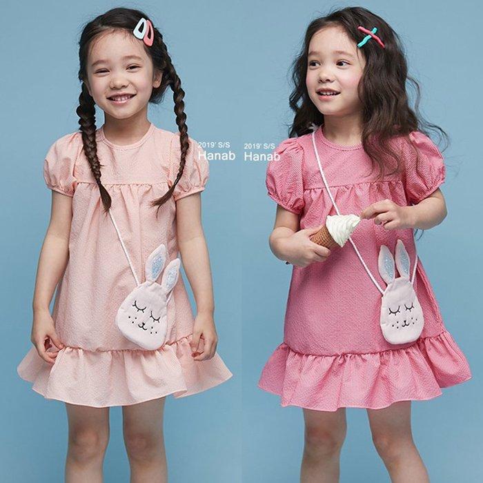 《正韓童裝》2019 新款夏裝 甜美休閒風可愛小兔子斜背包公主袖洋裝 (預購優惠+免運)