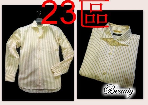*Beauty*23區黃色條紋男士長袖襯衫 46號 IR