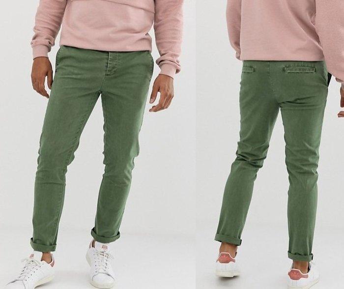 ◎美國代買◎ASOS反摺褲口合身剪裁復古英倫時尚街風淺綠刷色合身九分牛仔褲~歐美街風~大尺碼