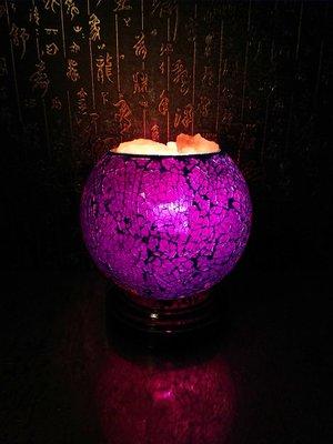 晶麗鹽燈-馬賽克玻璃創意造型鹽燈 (葡萄紫) 聚寶盆 夜燈 床頭燈,風水 招財 旺桃花 開運 化煞 除穢 鎮宅 避邪