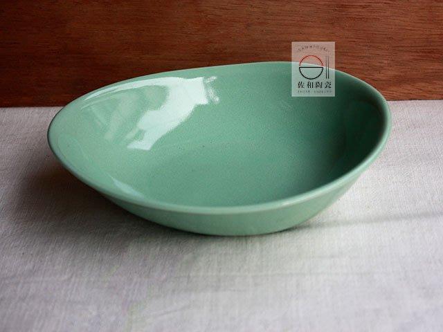 +佐和陶瓷餐具批發+【XL070933-6B綠釉蛋形深缽-日本製】日本製 碗缽 食器 家用餐具 造型缽 擺盤 沙拉缽