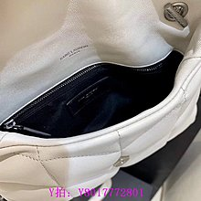 May二手精品YSL MINI  LOULOU  PUFFER 白色 羊皮 銀扣 迷鏈條包 肩背包 6203331 現貨