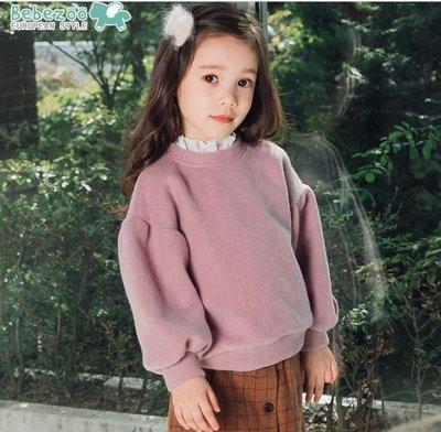 ❤現貨F133❤bebezoo韓國品牌冬新款可愛花邊領舒適保暖長袖女童T恤童上衣(粉紫色)
