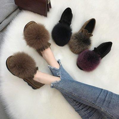 Sarah  豆豆鞋女秋季牛筋軟底狐貍毛毛鞋女新款2018平底韓版一腳蹬百搭