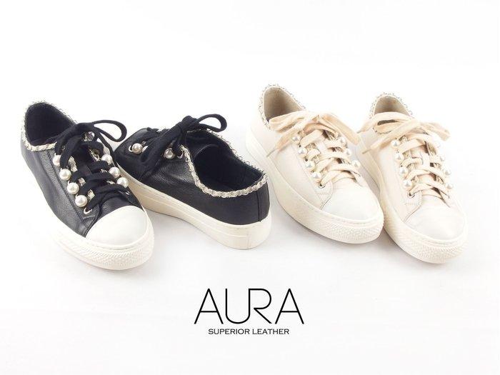 AURA[華麗珍珠。小厚底小牛皮休閒鞋]珍珠黑/珍珠白34-40大小尺碼
