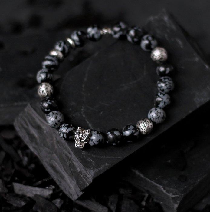 龍 息. 天然礦石純銀手珠 黑雪花石 實心純銀火山石鑄造龍首隔珠