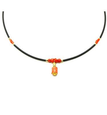 天然沙丁紅珊瑚 粉珊瑚 自然枝 隨形 輕珠寶項鍊 附保證書【大千珠寶】