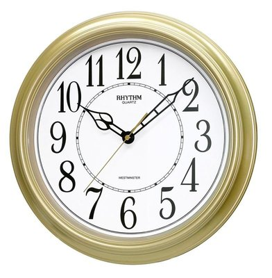 RHYTHM CLOCK 麗聲香檳金色膠框阿拉伯數字正點報時滑動式秒針靜音掛鐘 型號:CMH726NR18【神梭鐘錶】