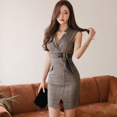 韓 實拍 ♥領氣質ol連衣裙 Z88413叉格子禮服 洋裝 連身裙