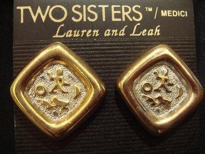 賣家珍藏,美國全新 Two Sisters Lauren and Leach 金色菱形夾式耳環,低價起標無底價!免運費!