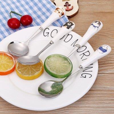 海馬寶寶 不鏽鋼湯匙 陶瓷手柄小湯匙 卡通不鏽鋼勺 兒童餐具