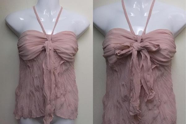 【100%真品】全新KOOKAI粉色露肩露背繞頸造型皺摺雪紡性感背心