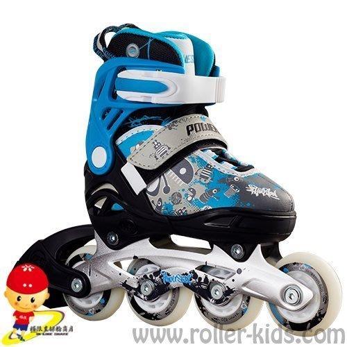 【極限直排輪網路賣場】POWERSLIDE 卡通系列兒童成長鞋 藍(全套)L號