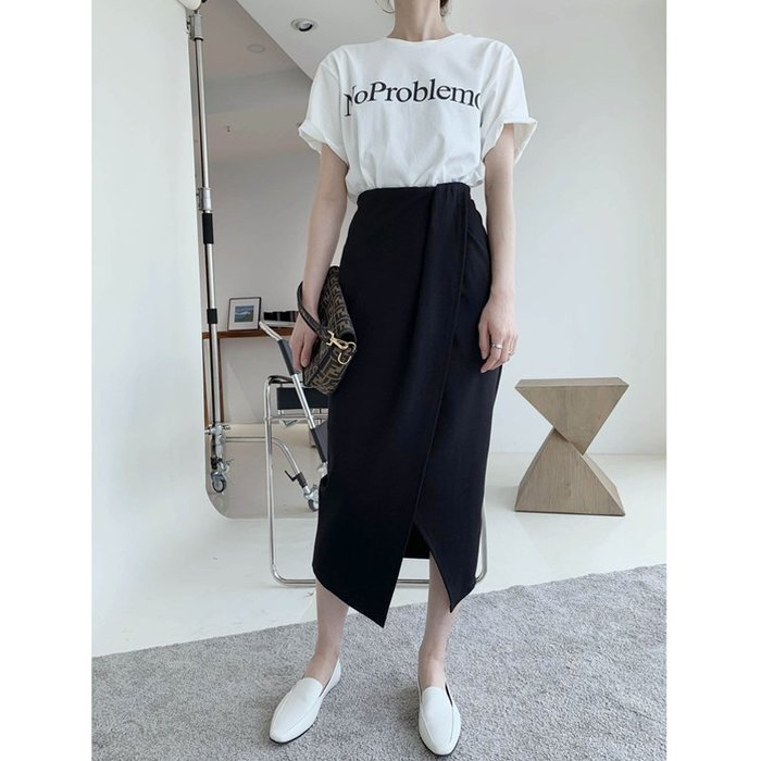 簡約不規則立體剪裁半身裙高腰設計感前開叉黑色半裙鉛筆裙長裙.NL Select Shop .