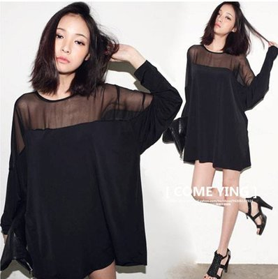 【COME YING】韓國訂單.黑色網紗透膚感 拼接寬鬆連身裙/長款T恤/洋裝 $450