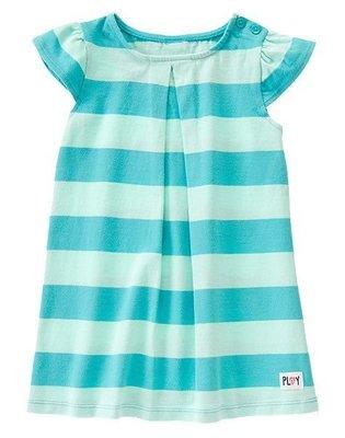 美國GYMBOREE正品新款Striped Flutter Sleeve Dress連身裙洋裝(綠色條紋)5T售200元