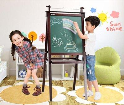 實木兒童畫板畫架雙面小黑板支架式家用寶寶磁性可升降寫字板 mks