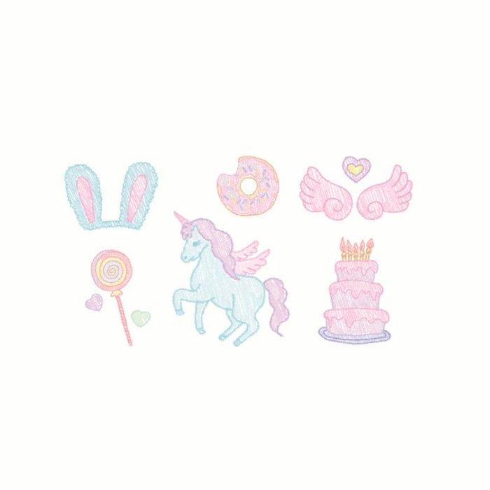 【萌古屋】】可愛女孩生日 - 防水紋身貼紙刺青貼紙 HC-165