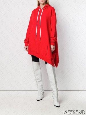 【WEEKEND】 UNRAVEL Oversize 長版 不對稱 長袖 衛衣 帽T 短洋 紅色 19春夏