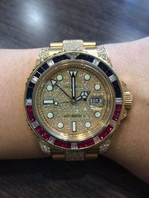 ROLEX 勞力士 116718LN GMT 黃K金 豪華紅藍石錶圈 滿天星面盤 豪華鑽帶 接受預訂 面洽