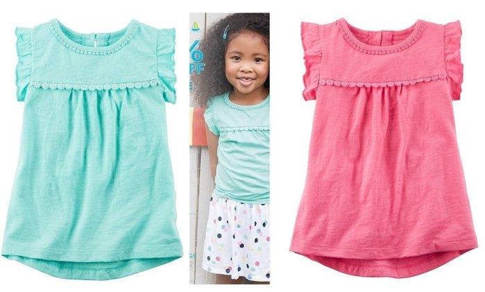 美國 carter's 春夏超可愛百搭蕾絲領點綴小飛袖上衣,粉色/藍色款 3T,4T,5T,6號,7號,8號