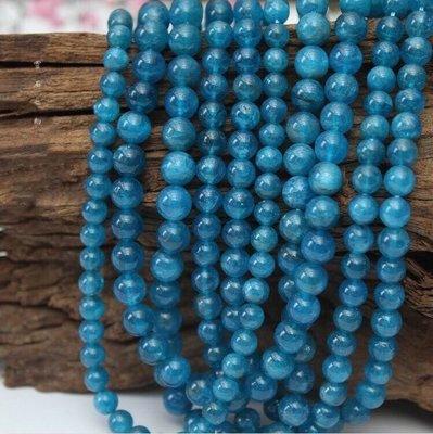 【靈石之約 】  天然原礦 斯里蘭卡 藍磷灰石6mm 條珠/串珠 半成品 手工diy材料配件 水晶批發