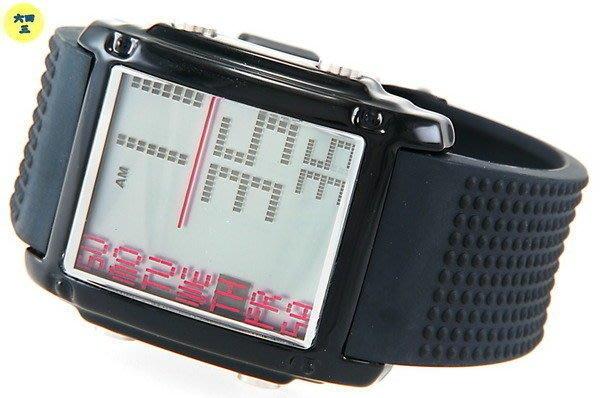 (二八一元起標)世界多元運動型數位顯示(計時.鬧鈴.日期.星期.矽膠帶) .黑