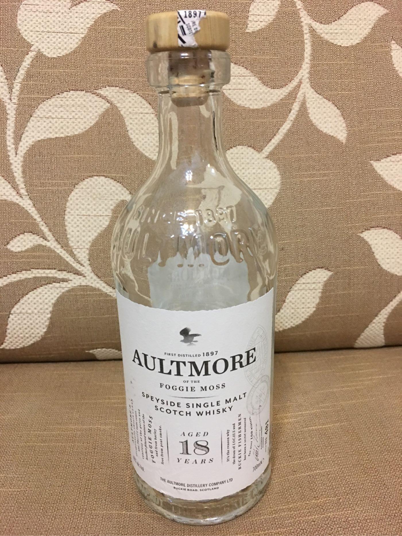 《瓶子控》AULTMORE 18 YEAR OLD SINGLE MALT WHISKY 雅墨18年單ㄧ純麥威士忌空酒瓶