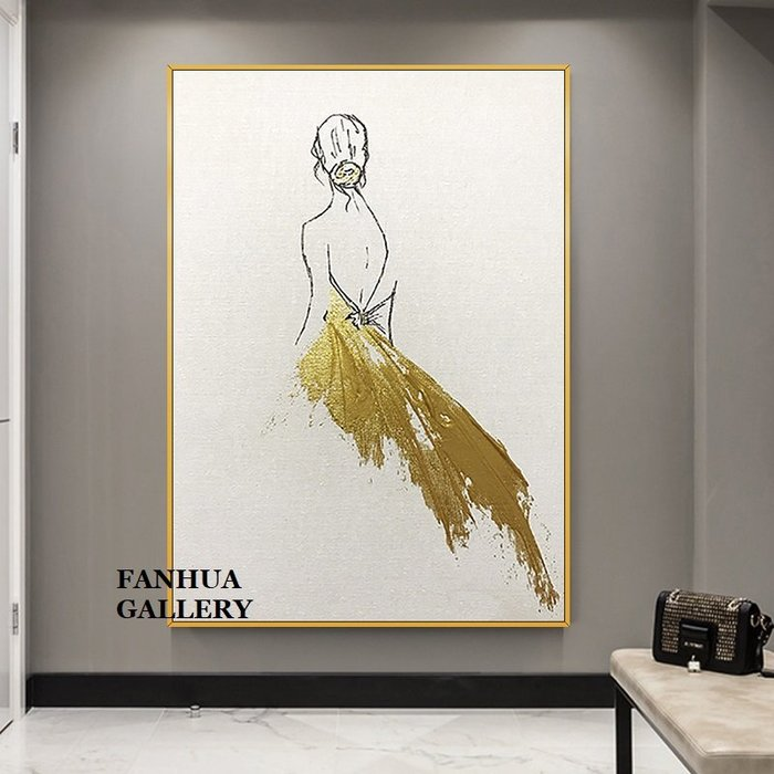 C - R - A - Z - Y - T - O - W - N 純手繪立體筆觸油畫時尚女人背影手繪掛畫設計師推薦畫