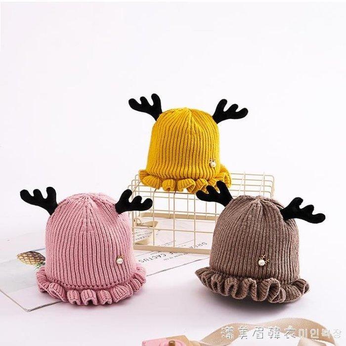 秋冬寶寶毛線鹿角帽子兒童女童嬰兒男童女孩韓版潮針織帽0-1-3歲