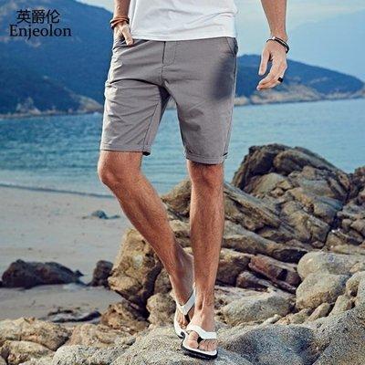 歐美簡約夏季 新款男士 純色微彈修身 五分短褲男5分褲子