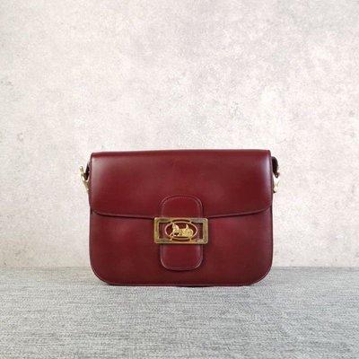 日本中古二手??賽琳vintage Celine酒紅色馬車金釦單肩包(夢露????現貨實拍)