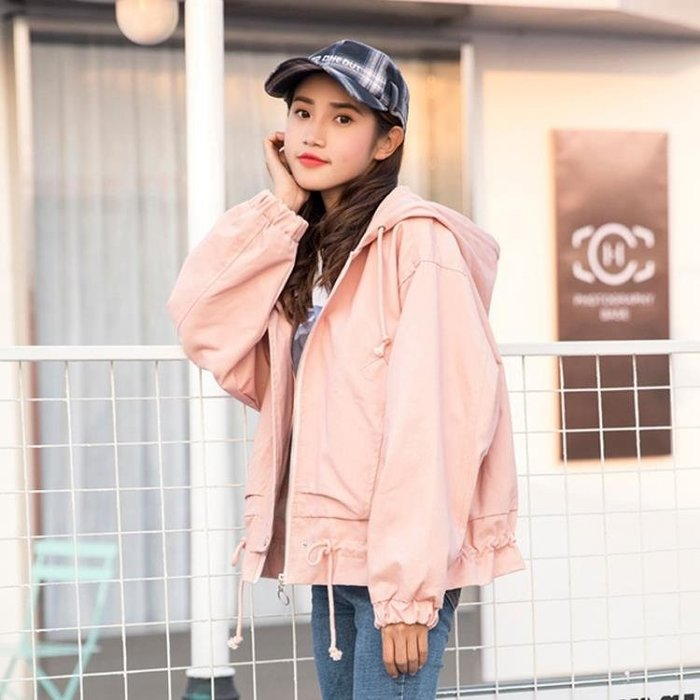 2018春秋季新款韓版BF原宿風學院寬鬆百搭短款外套女學生夾克工裝