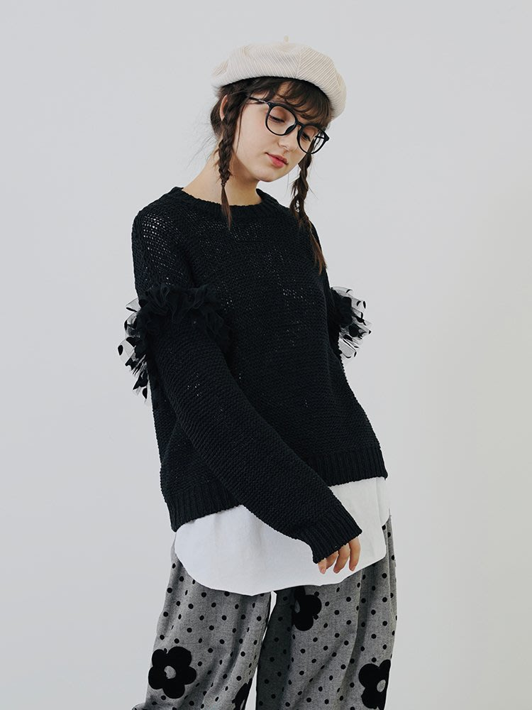 【鈷藍家】甜美個性原創黑色毛衣女秋季寬松休閑長袖打底套頭長袖針織衫