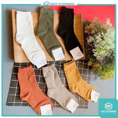 DOT聚點 韓國製 短襪 中統襪 素色 多色 文青襪 made in korea 黑白 軍綠 奶茶色 芥末黃 磚紅