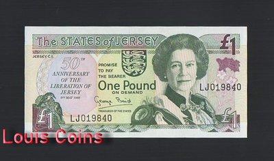 【Louis Coins】B972-JERSEY-1995澤西紀念紙幣,1 Pound