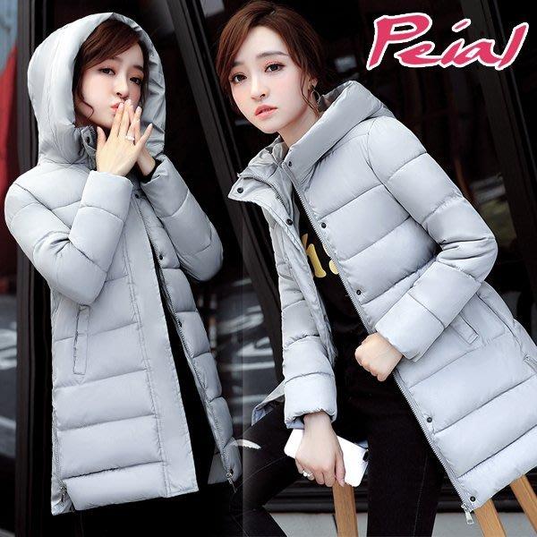 【Peial】韓國美身材專屬超級顯瘦俏皮可愛惠利羽絨外套《灰》‧OL風大尺碼防風衣短大衣長大衣連帽外套夾克長版外套運動冬
