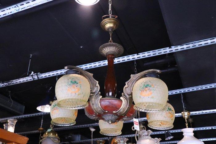 【卡卡頌 歐洲跳蚤市場/歐洲古董】※清倉特價※法國 美麗銅+木雕 別緻雕刻淡橙玻璃 古董吊燈 l0235✬