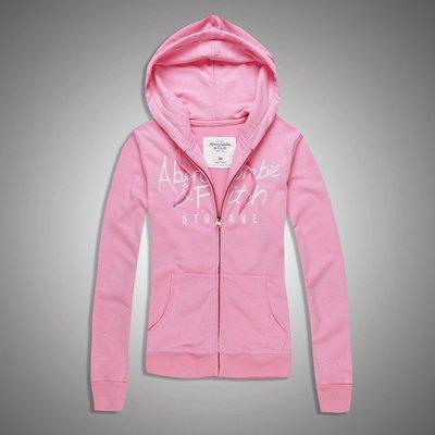 Abercrombie&Fitch AF字母款式-粉紅,美國麋鹿女生連帽外套纯棉休閒帽T【A&F全新品】