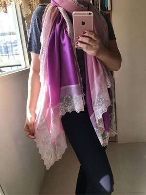 France Lace-夢夢園粉紫雙色漸層SuperFine Shamina 法國立體蕾絲披肩