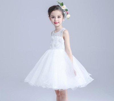 女童禮服公主裙花童裙兒童婚紗女童鋼琴演出表演服生日春夏款TATA324