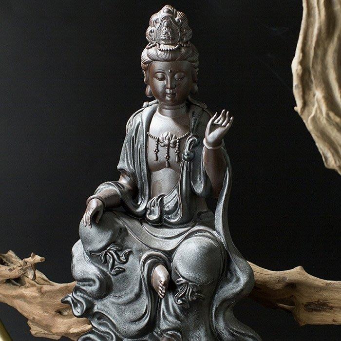 【睿智精品】陶瓷自在觀音菩薩 南無觀世音菩薩佛像 法像莊嚴(GA-5143)