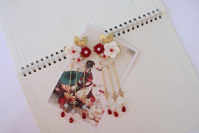 ZIHOPE 圈 髮帶手工琉璃花朵可愛發夾流蘇對夾百搭漢服古風配飾一對ZI812