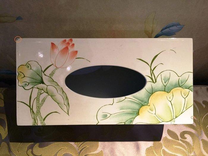 【La Romance 惜福品出清】東情西韻系列荷花手繪長方形面紙盒 (標多少賣多少)