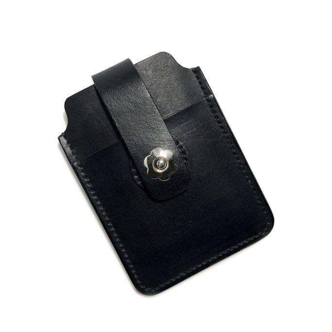 【IAN X EL】手工真皮直式花扣名片夾 / 票卡夾 提供免費印字 純手工皮件