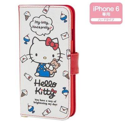 尼德斯Nydus~* 日本正版三麗鷗 Hello Kitty 凱蒂貓 翻頁皮套 手機殼 4 .7吋 iPhone 6
