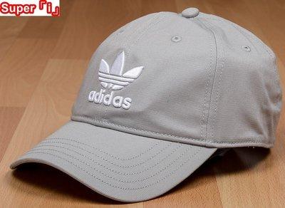 「i」【現貨】Adidas Originals Trefoil Cap灰 三葉草 男女可調節 刺繡Logo 棒球帽 老帽